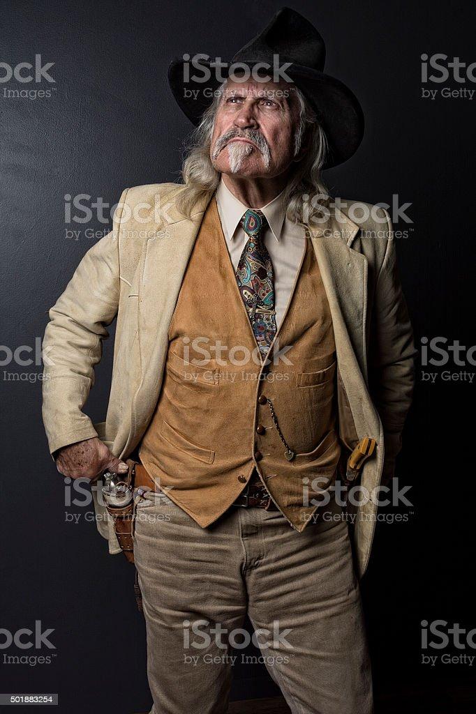 Cowboy Wild West Gunslinger Gunfighter With Pistols stock photo