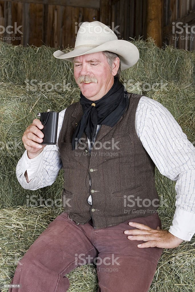 Cowboy with Flask royalty-free stock photo