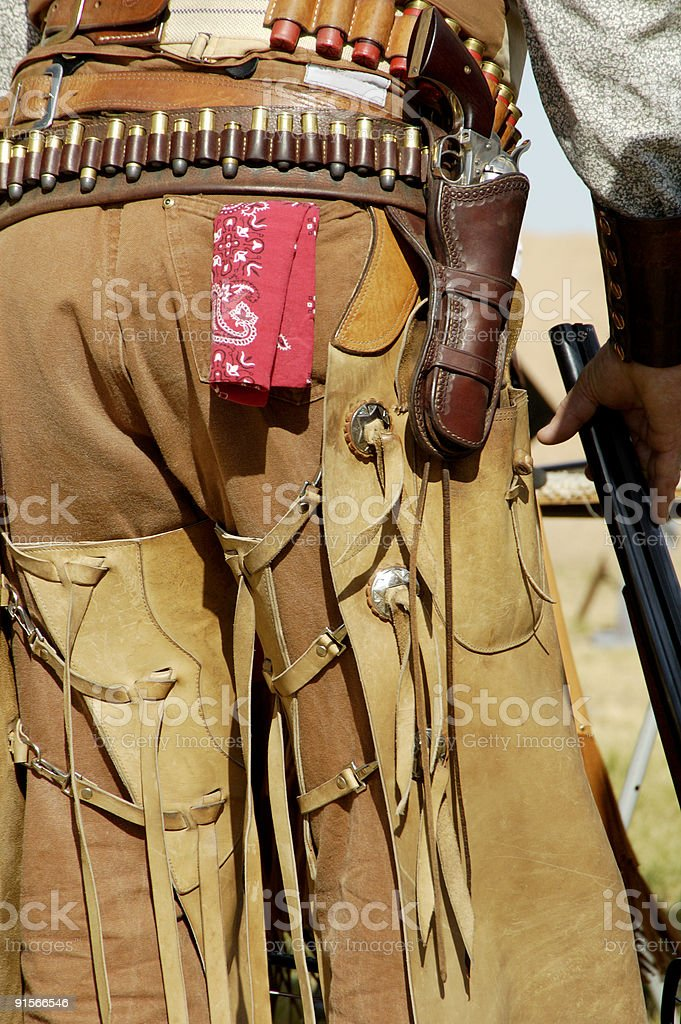 Cowboy with Gun in Hand stock photo