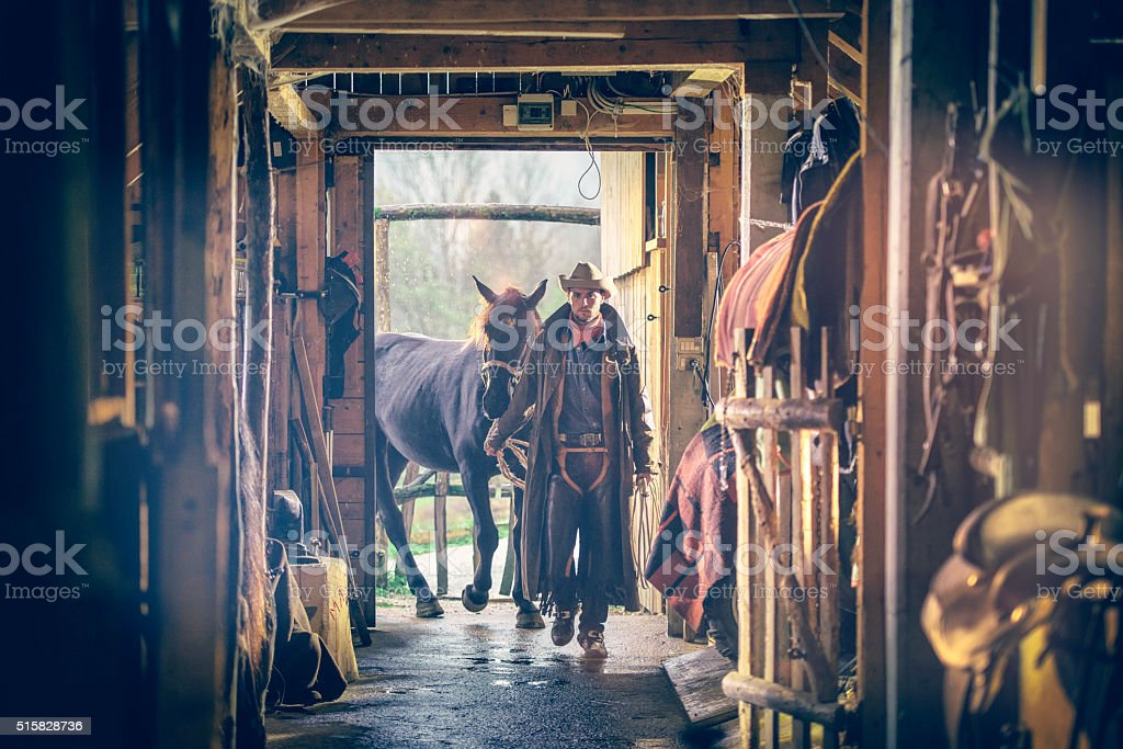 Cowboy with horse entering the barn stock photo
