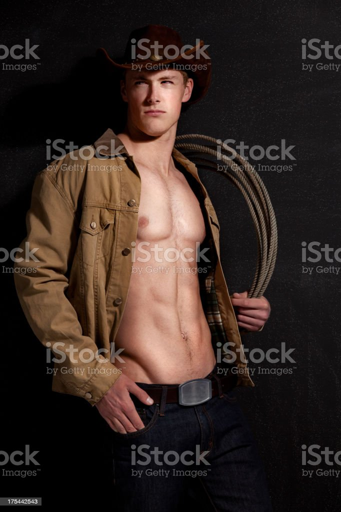 Cowboy with lasso royalty-free stock photo