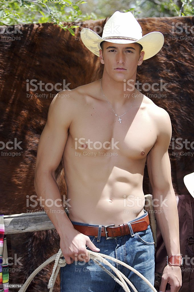 Cowboy with rope royalty-free stock photo