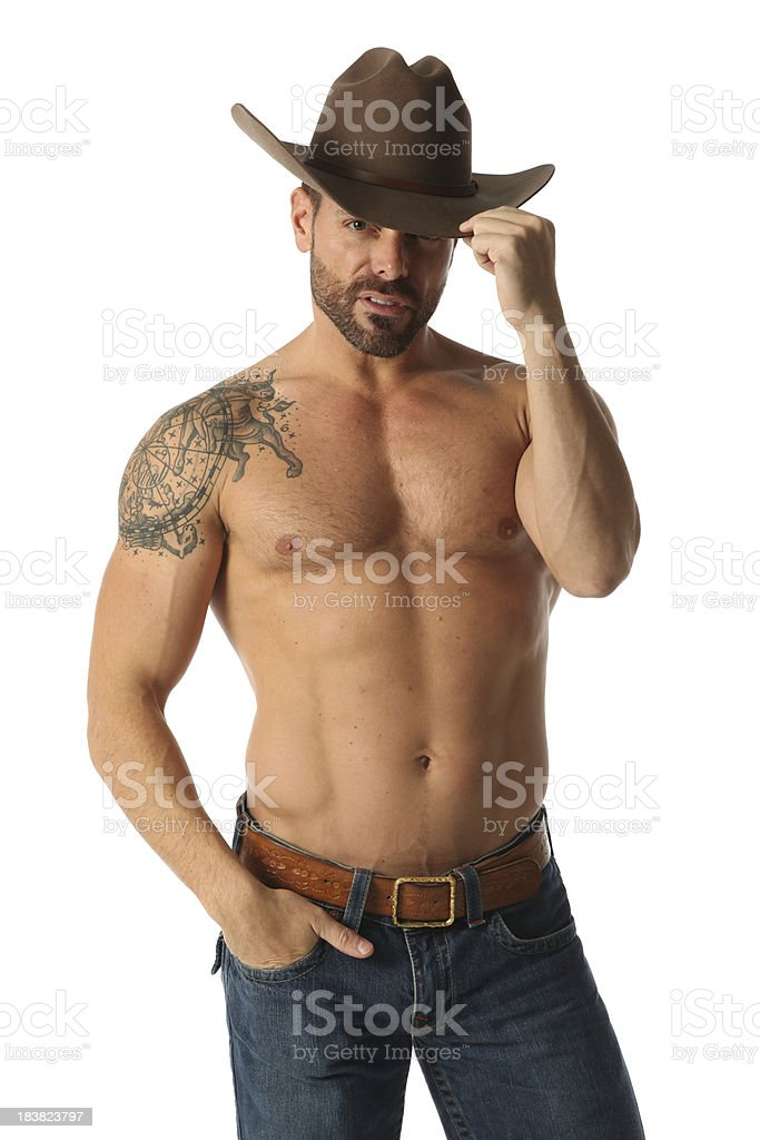 Cowboy with tattoo royalty-free stock photo