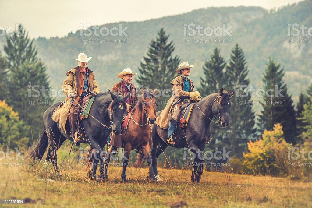 Cowboys and cowgirl riding their horses across a meadow stock photo