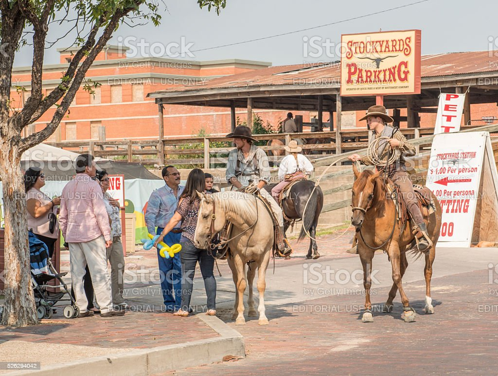 Cowboys at the Fort Worth Stockyards stock photo