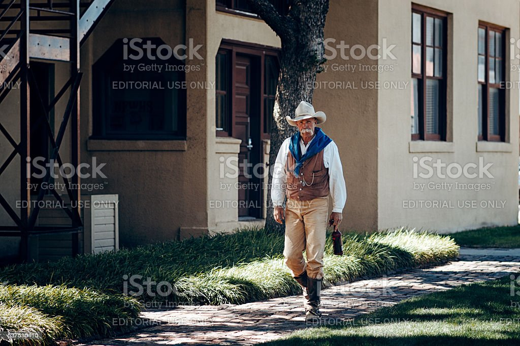 Cowboys down streets at Fort Worth stock photo