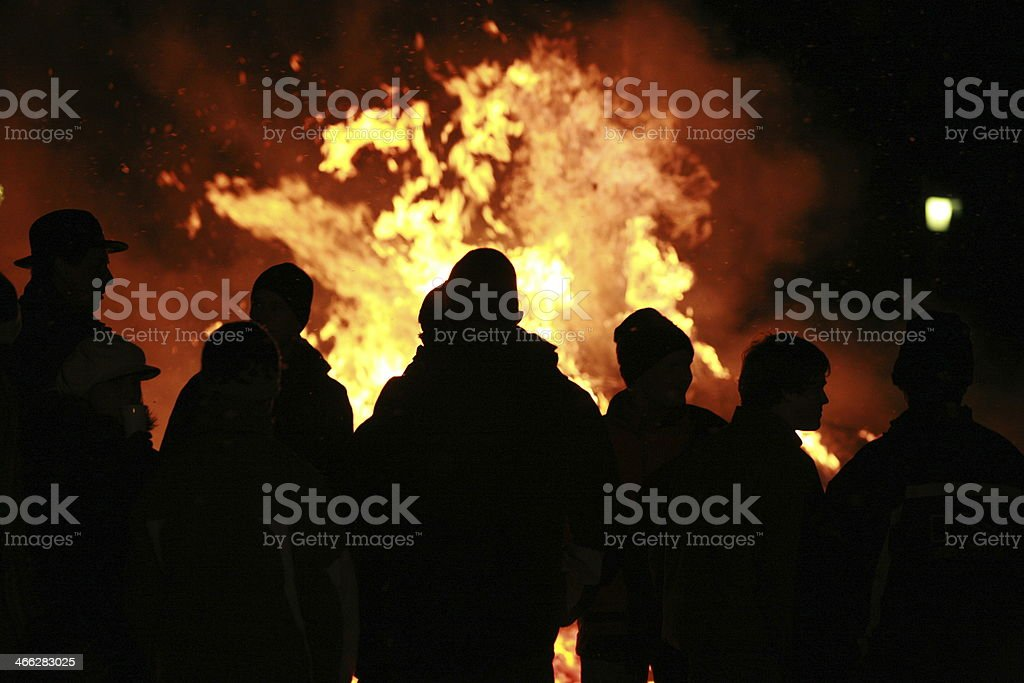 cowboys fire people stock photo