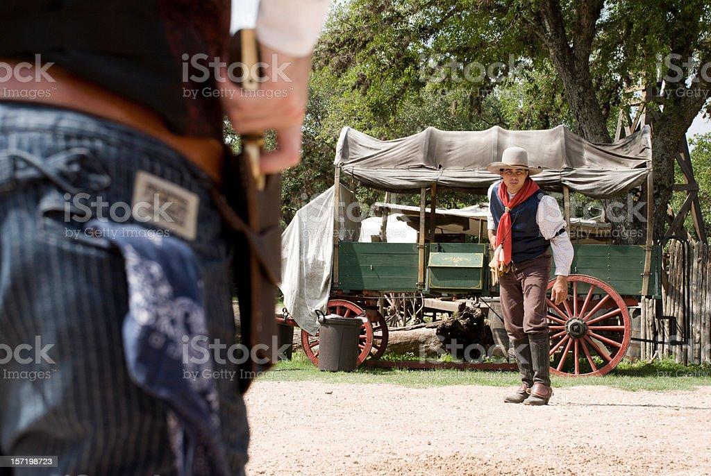 Cowboys in a gun fight stock photo