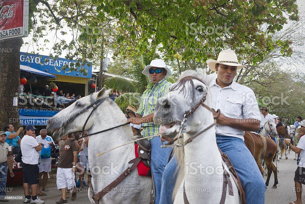 Cowboys in Playas del Coco, Costa Rica stock photo