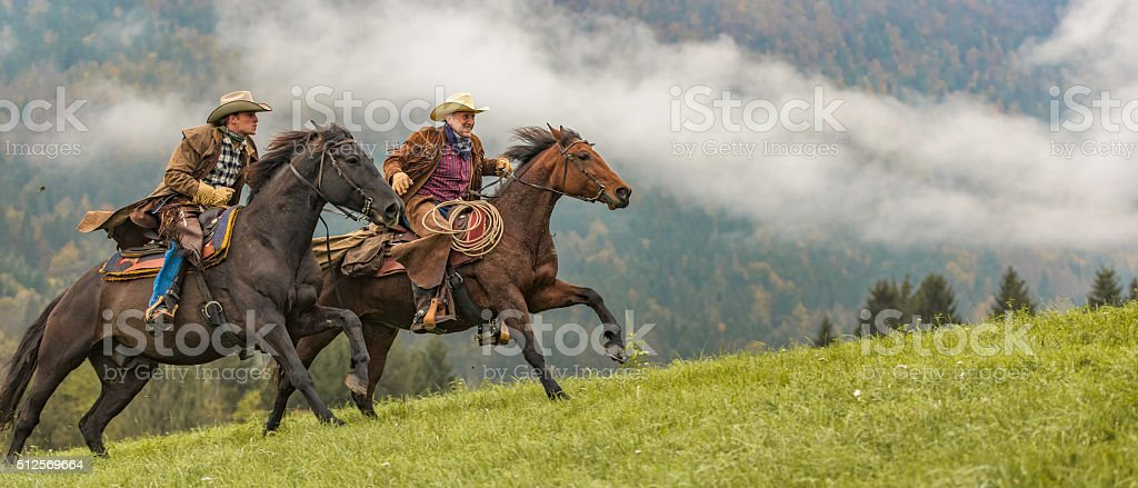 Cowboys riding across a meadow in the forest stock photo