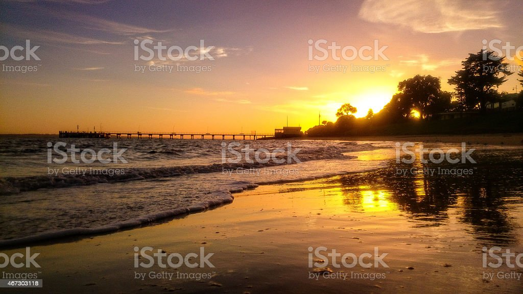 Cowes foreshore sunrise stock photo