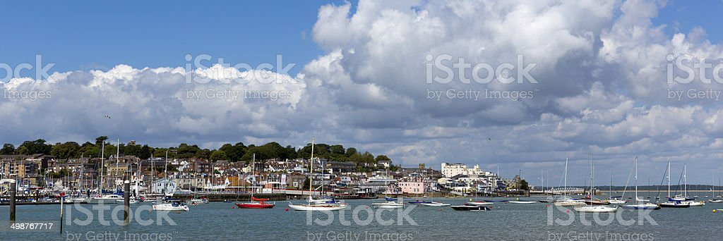 Cowes harbour Isle of Wight panorama stock photo