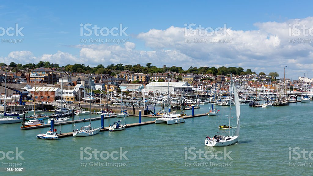 Cowes harbour Isle of Wight stock photo