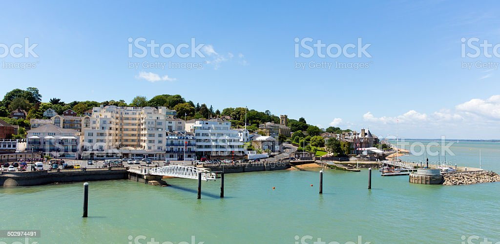 Cowes harbourside Isle of Wight on a summer day stock photo