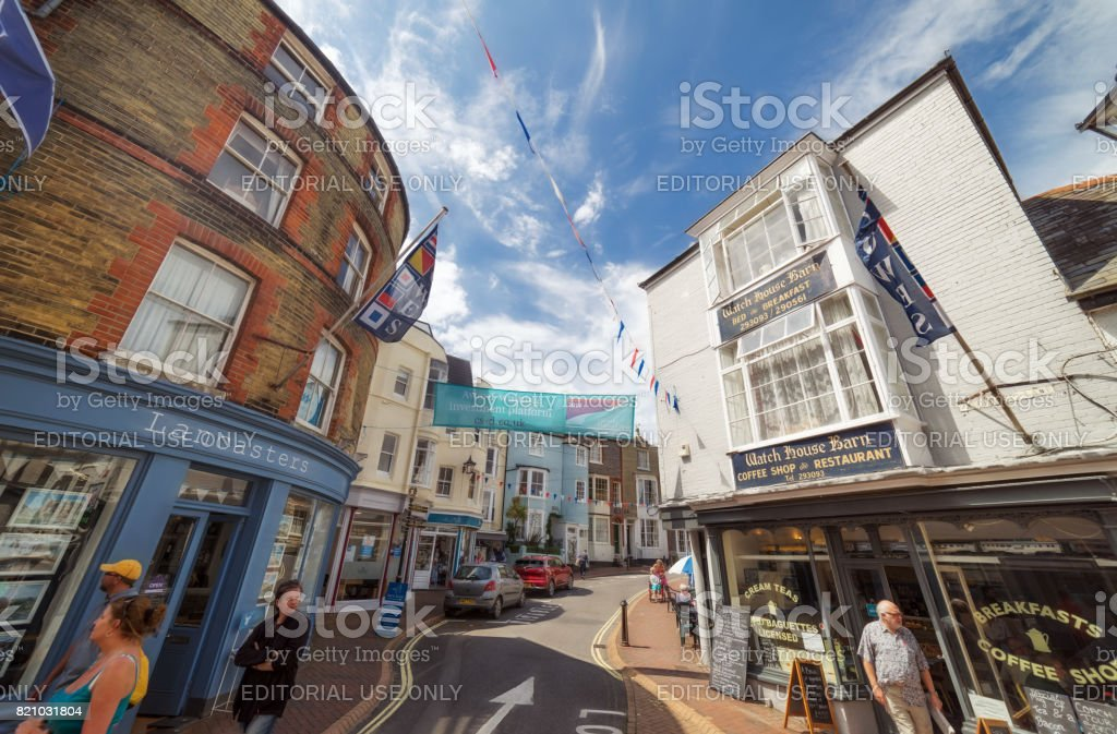 Cowes town centre on the Isle of Wight stock photo