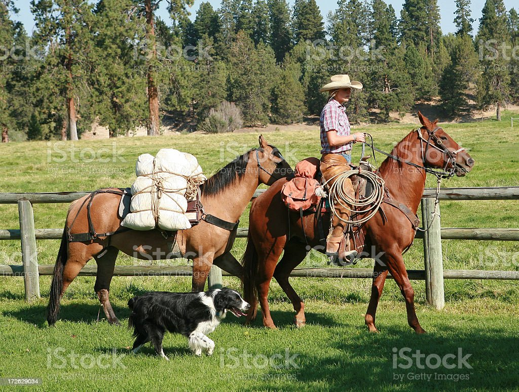 cowgirl and wranglers royalty-free stock photo