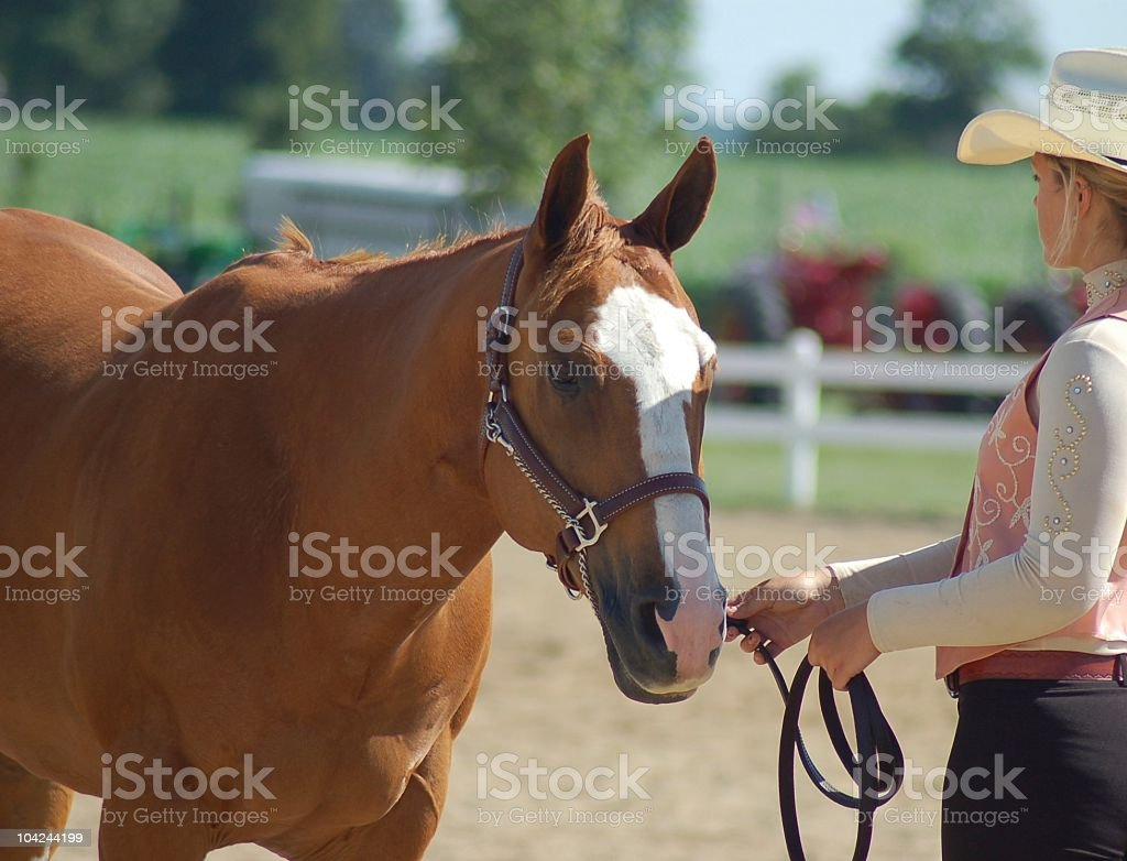 Cowgirl at a Horse Show stock photo