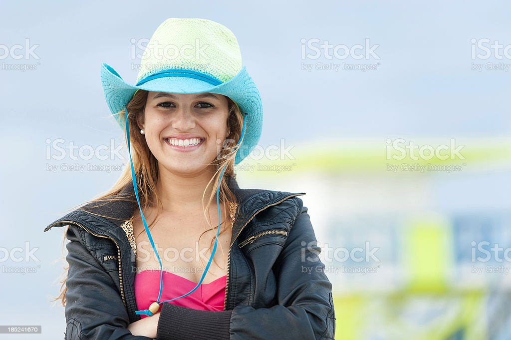 Cowgirl at the beach stock photo