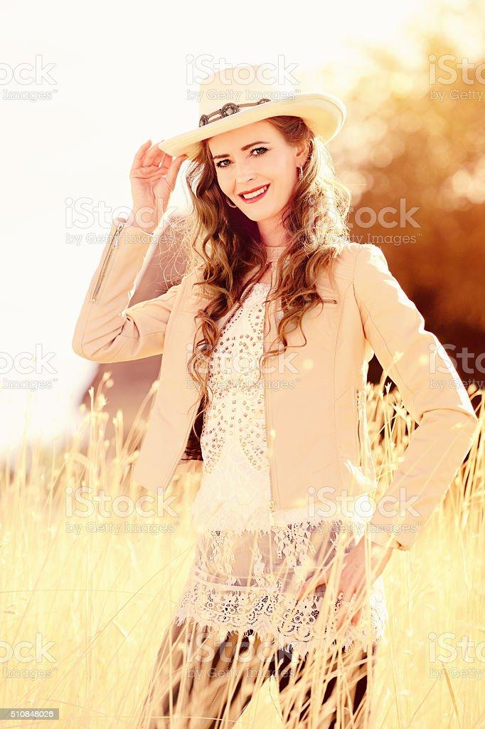 Cowgirl Fashionista stock photo