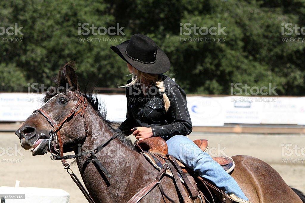 Cowgirl Gallop stock photo