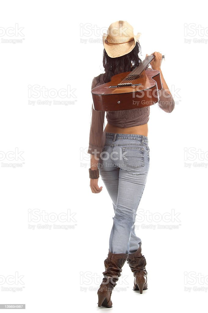 Cowgirl Guitar royalty-free stock photo