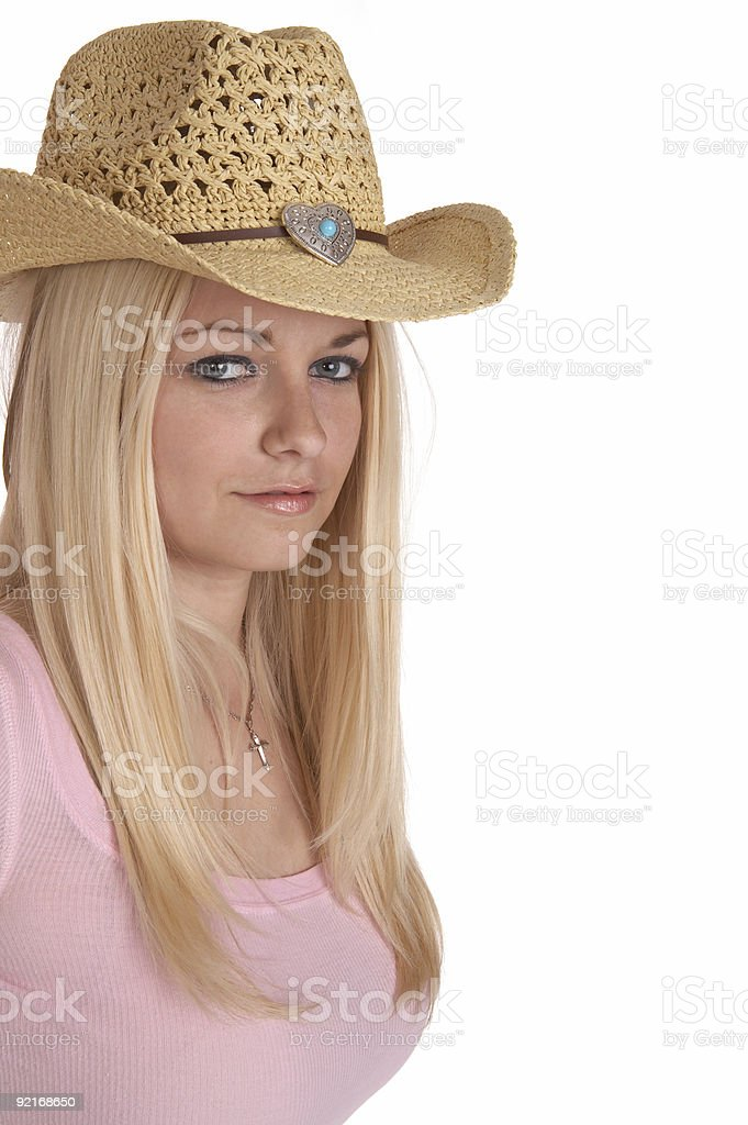 Cowgirl in pink royalty-free stock photo