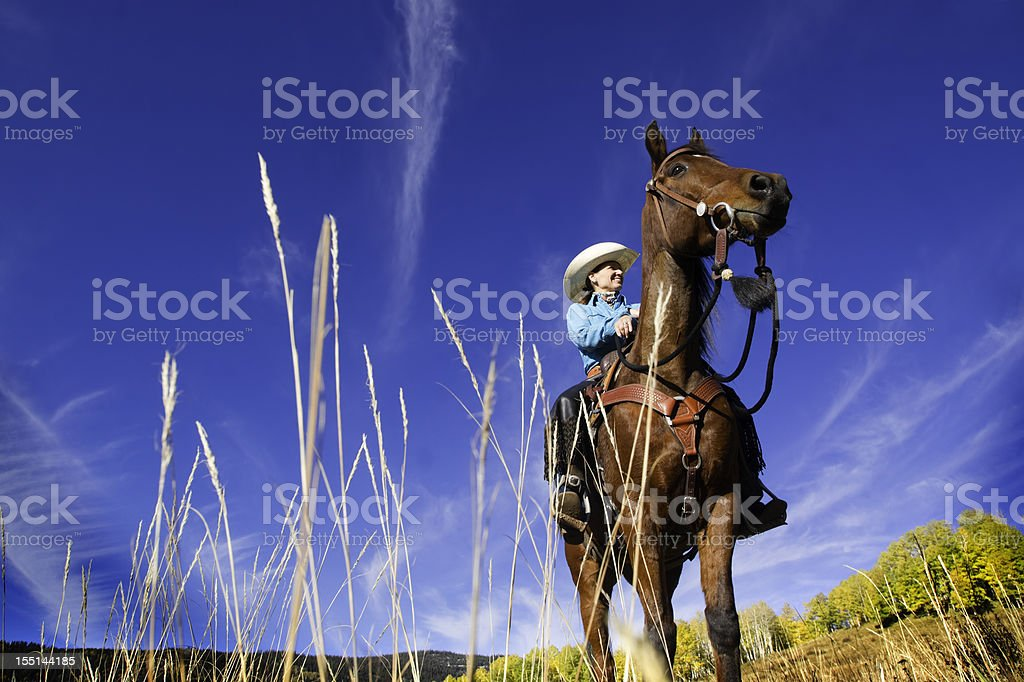 cowgirl landscape sky stock photo
