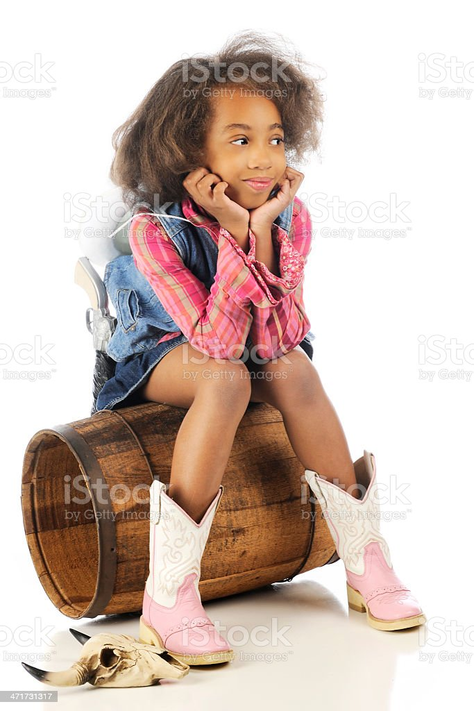 Cowgirl Observing royalty-free stock photo