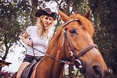 Cowgirl on a horseback