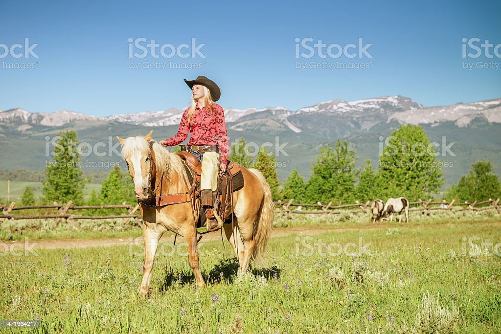 Cowgirl on Horse royalty-free stock photo