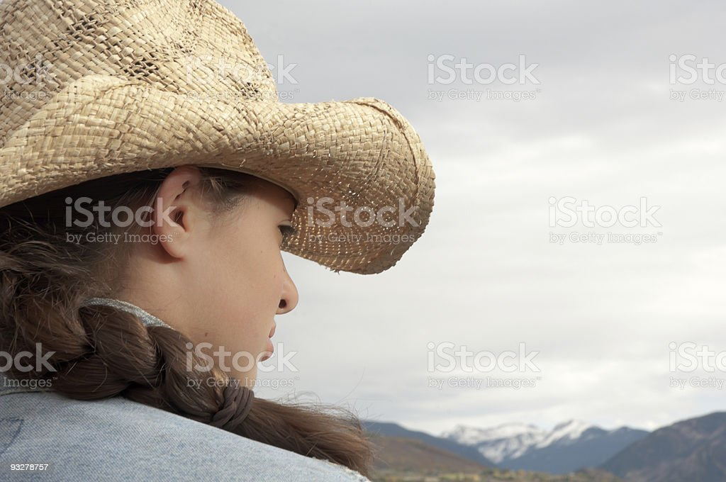 Cowgirl profile stock photo