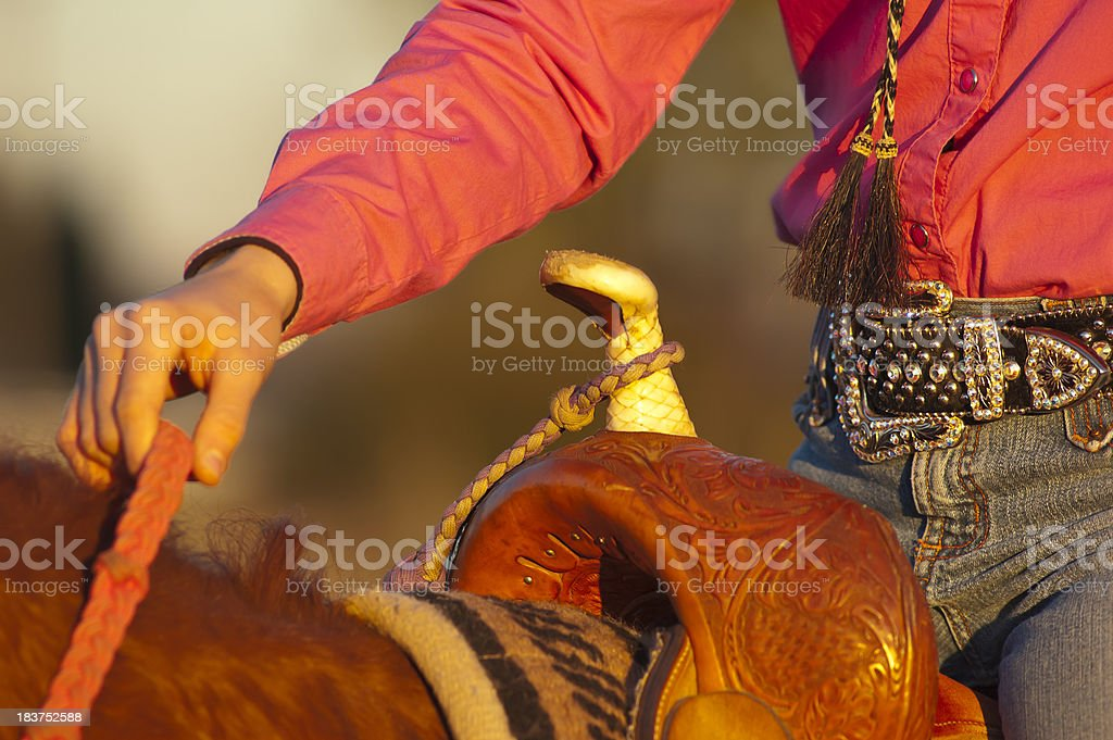Cowgirl Rodeo Saddle royalty-free stock photo