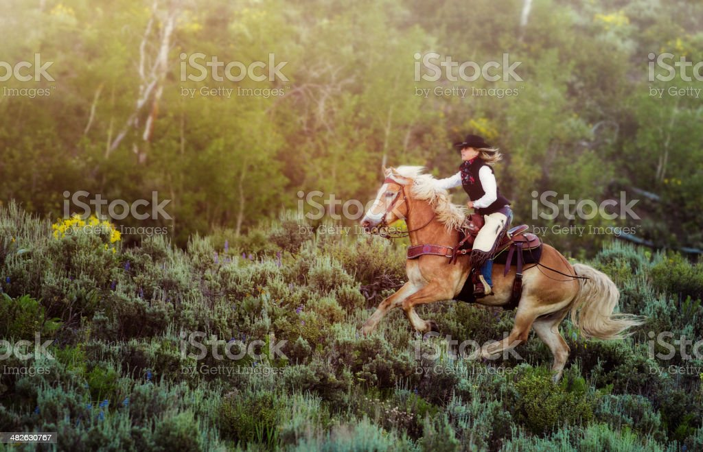 Cowgirl speeding through sagebrush stock photo