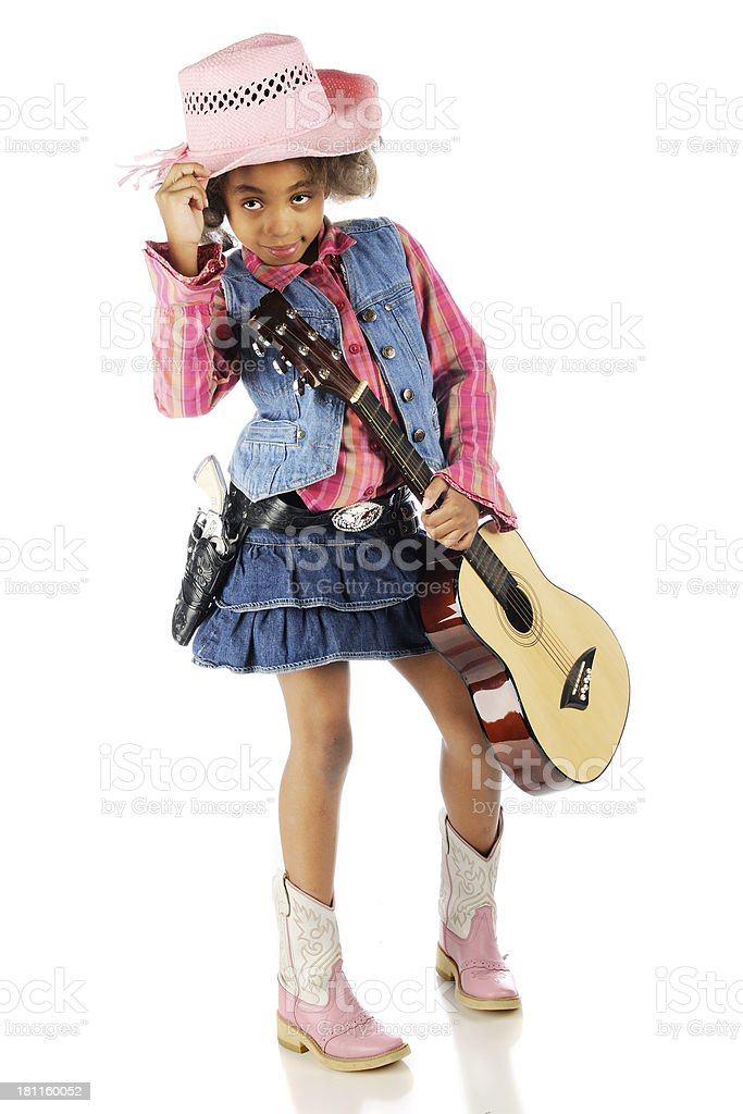 Cowgirl Tipping Her Hat royalty-free stock photo