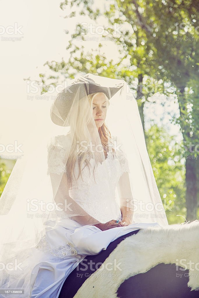 Cowgirl Wedding Portrait royalty-free stock photo