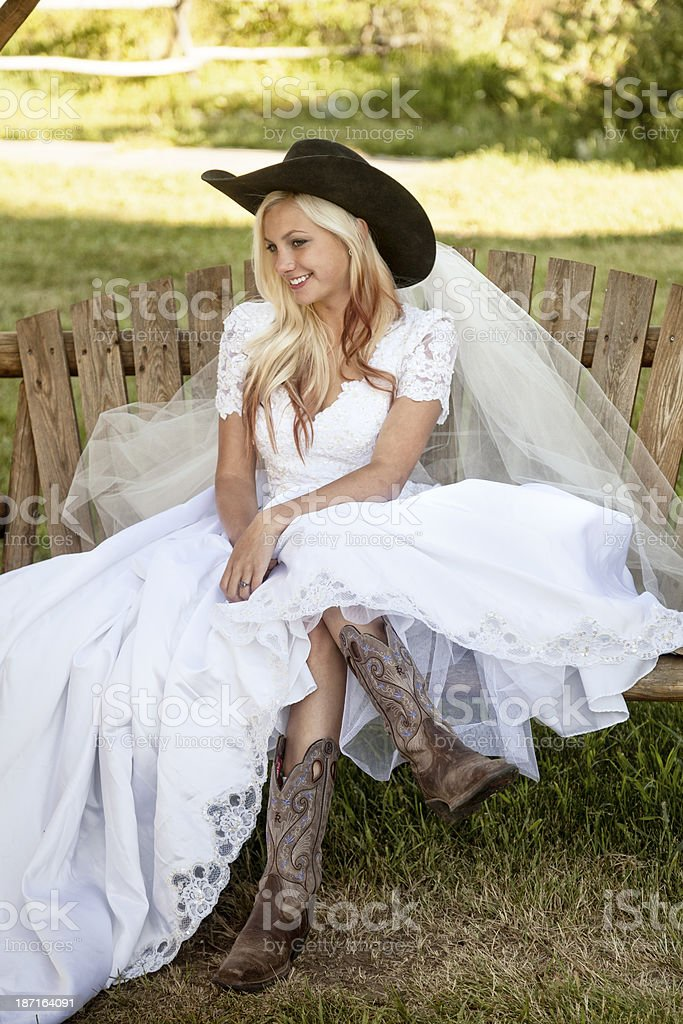 Cowgirl Wedding Portrait royalty-free stock photo