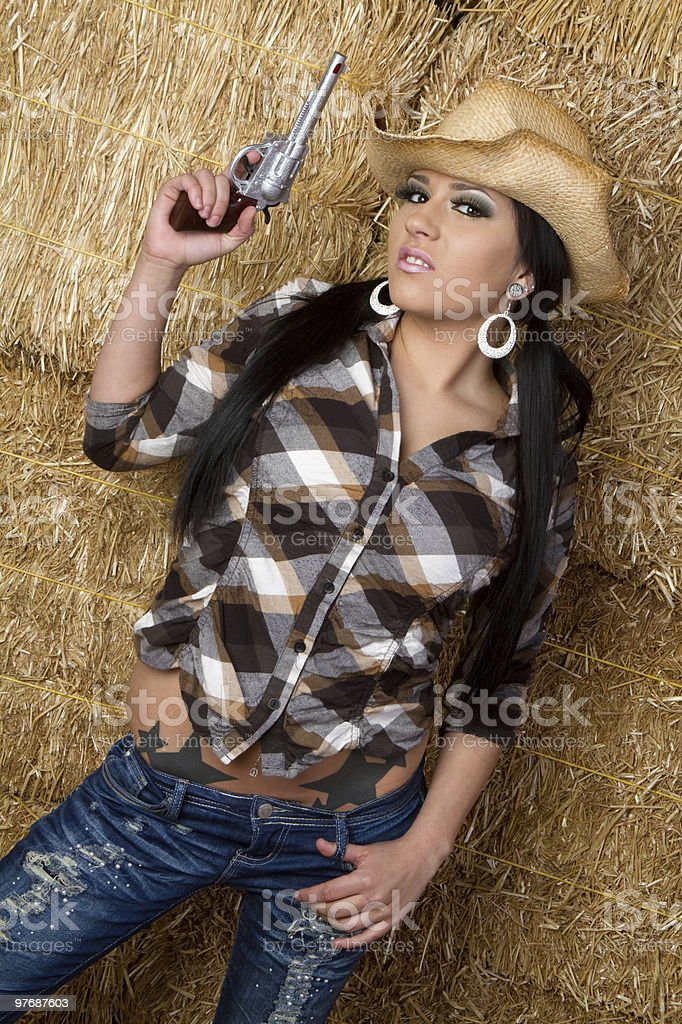 Cowgirl With Gun royalty-free stock photo