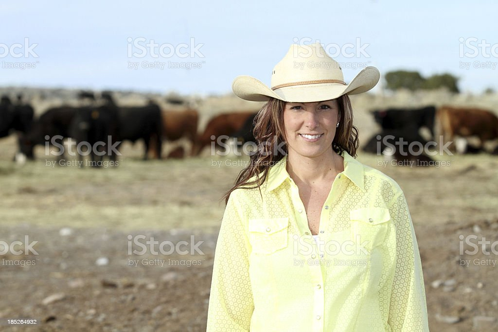 Cowgirl with her cattle herd royalty-free stock photo