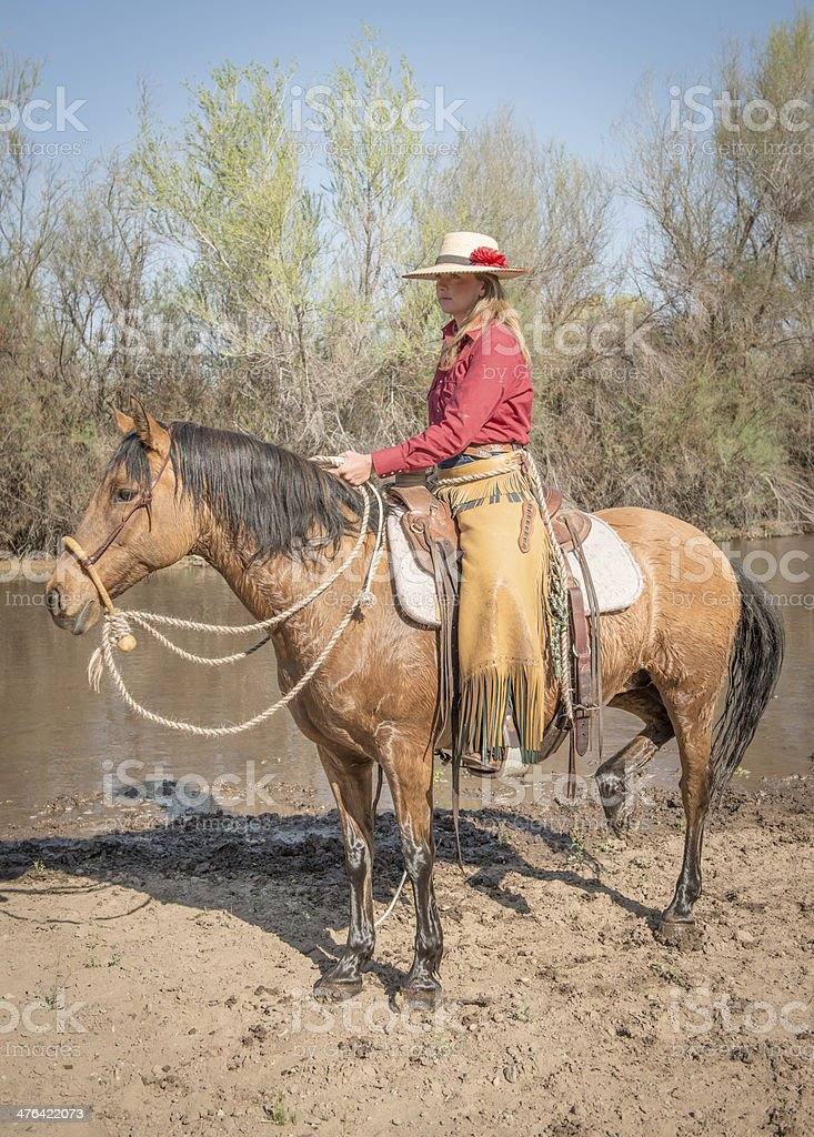 Cowgirl with wet horse by River royalty-free stock photo