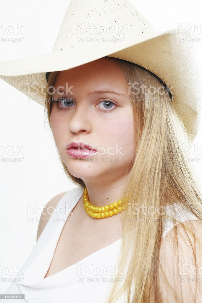 cowgirl with yellow pearl necklet royalty-free stock photo