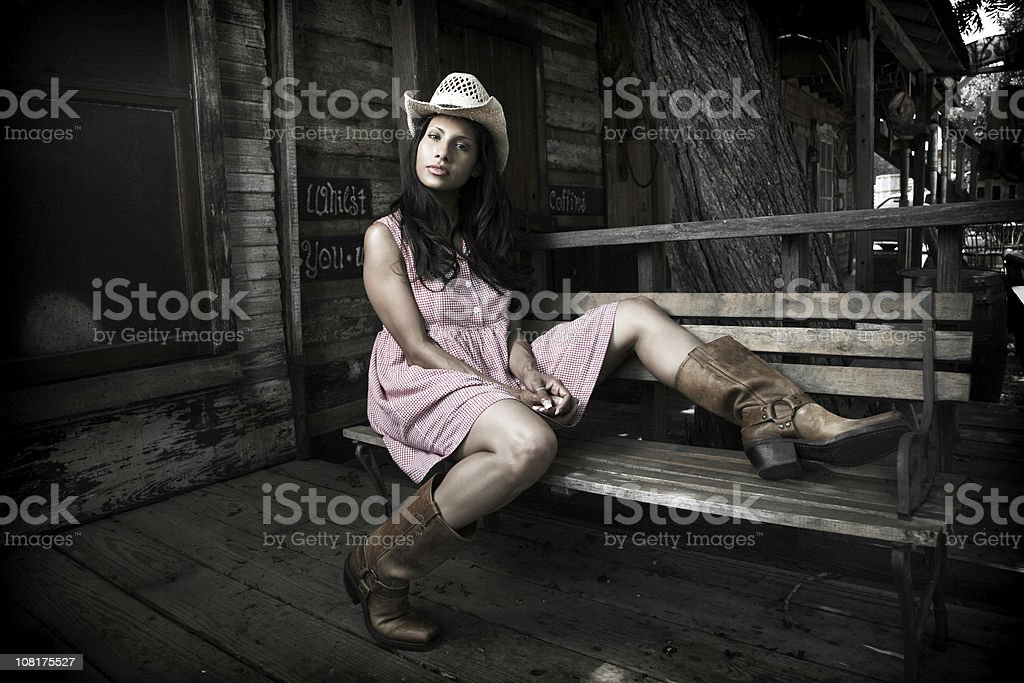 Cowgirl Woman on Porch royalty-free stock photo
