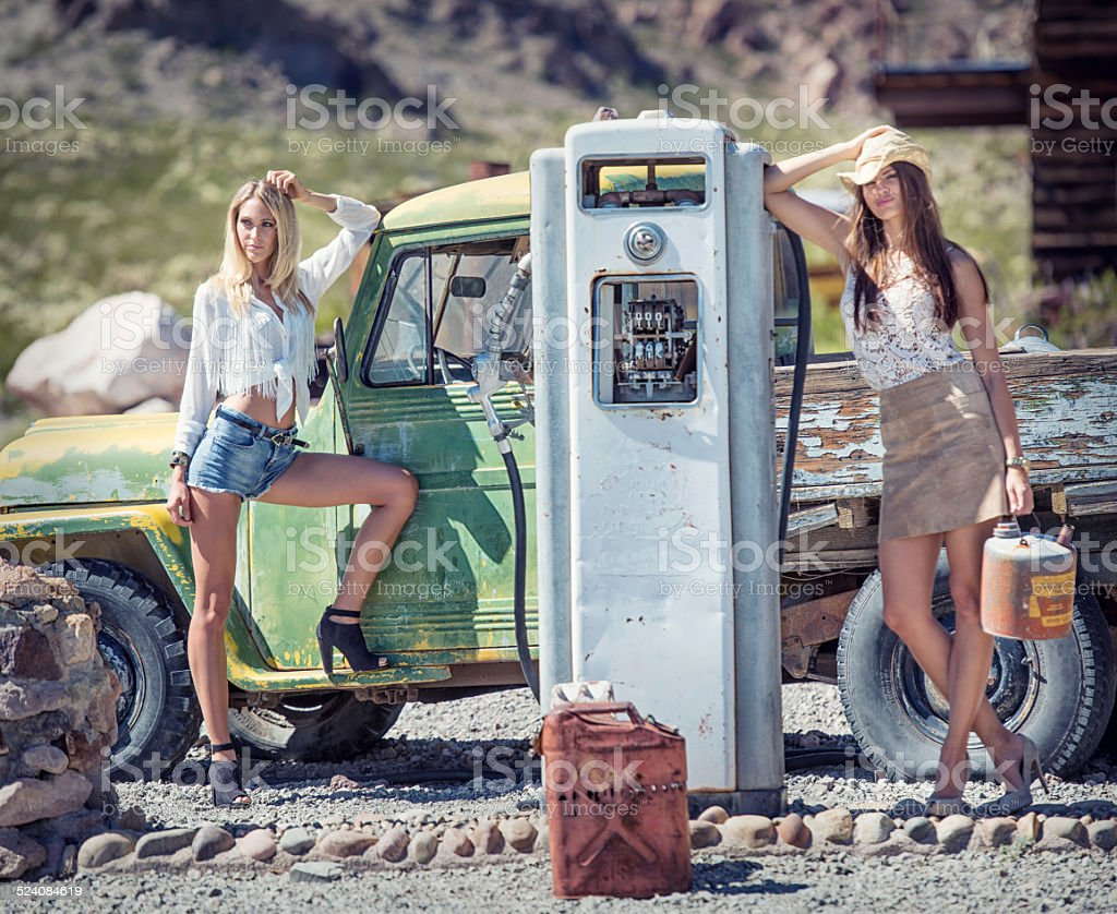 Cowgirls at the Oldtimer Gasstation stock photo