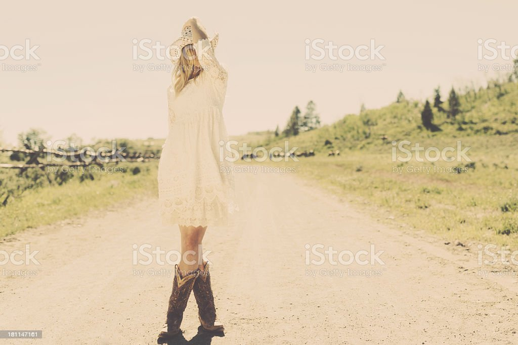 Cowgirl's Glance royalty-free stock photo