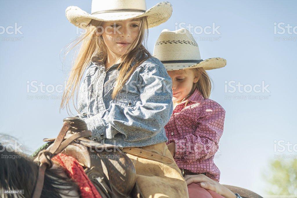Cowgirls on Horseback royalty-free stock photo