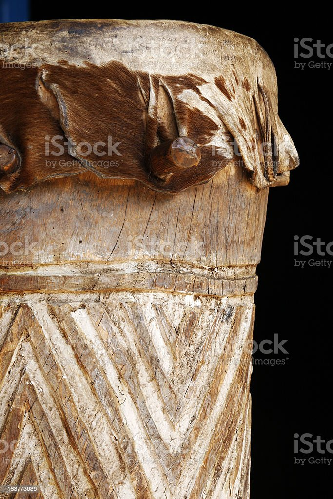 Cowhide Zulu drum from South Africa stock photo