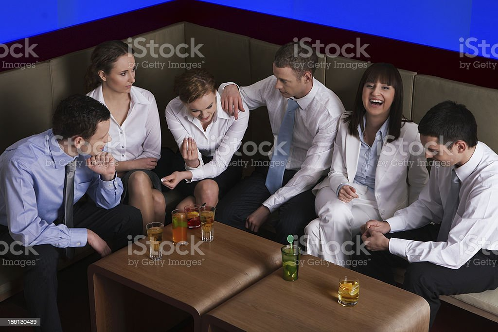 Coworkers at incentive meeting royalty-free stock photo