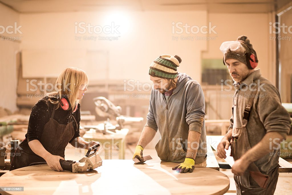 Coworkers during work stock photo