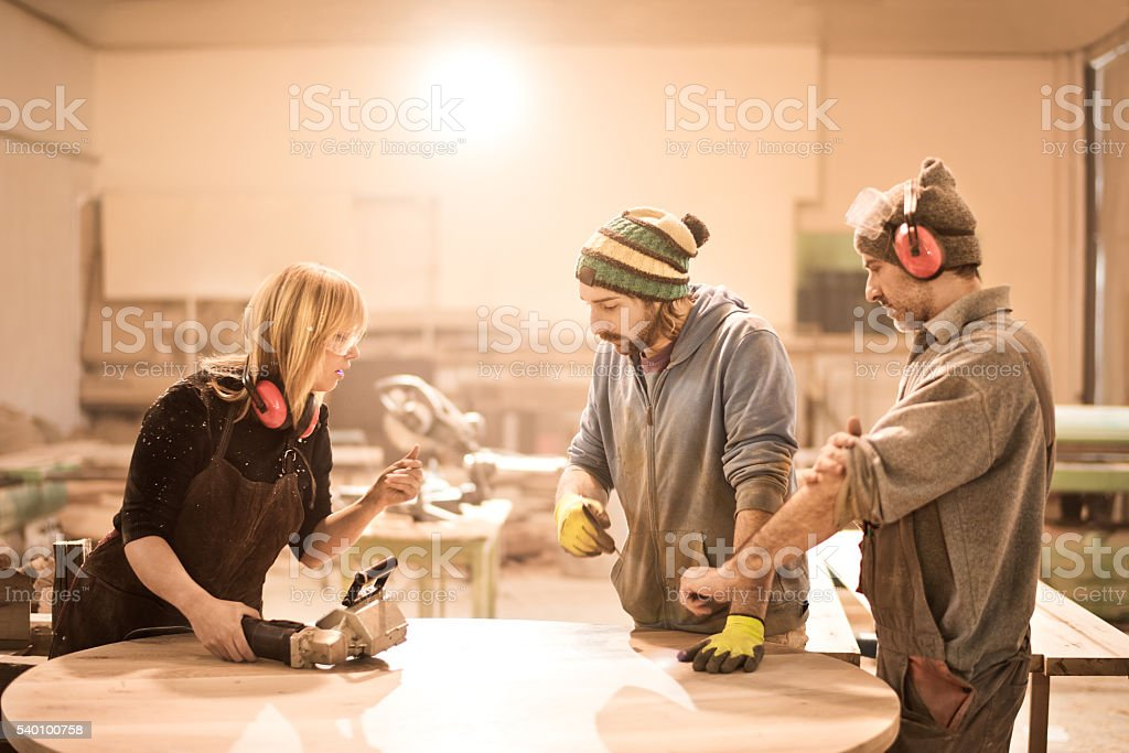 Coworkers organizing work stock photo