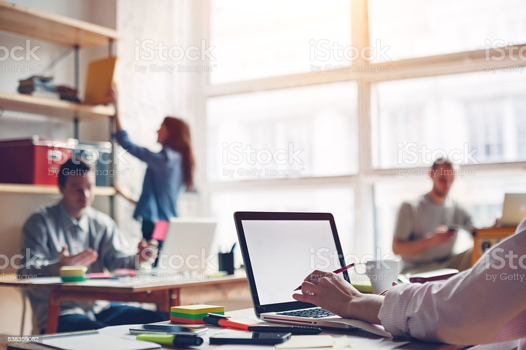 Coworking station. Modern business loft stock photo