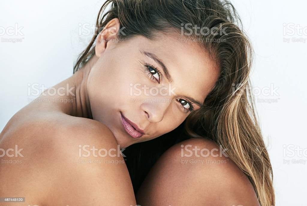 Coy but confident stock photo